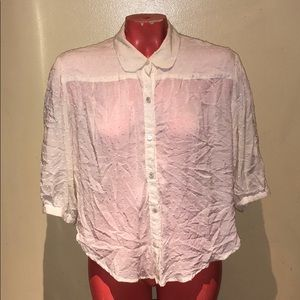 Free people button shirt too blouse tunic crop